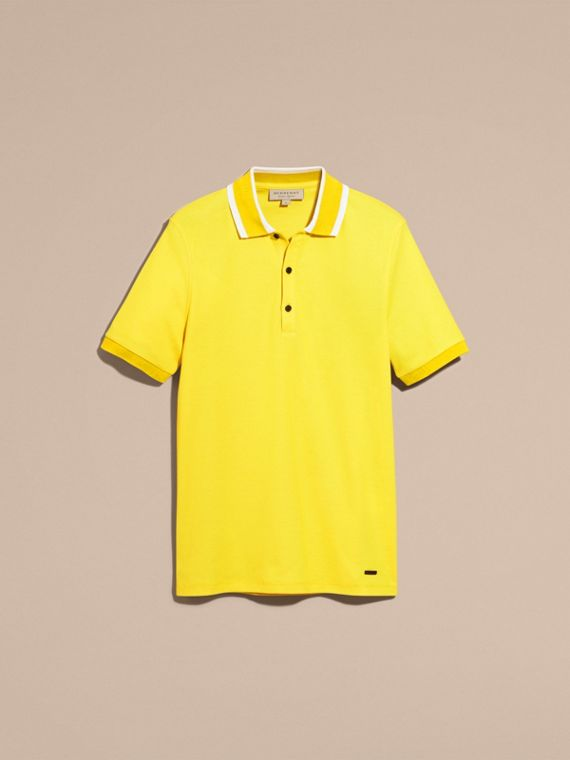 Striped Collar Cotton Piqué Polo Shirt Daffodil - cell image 3
