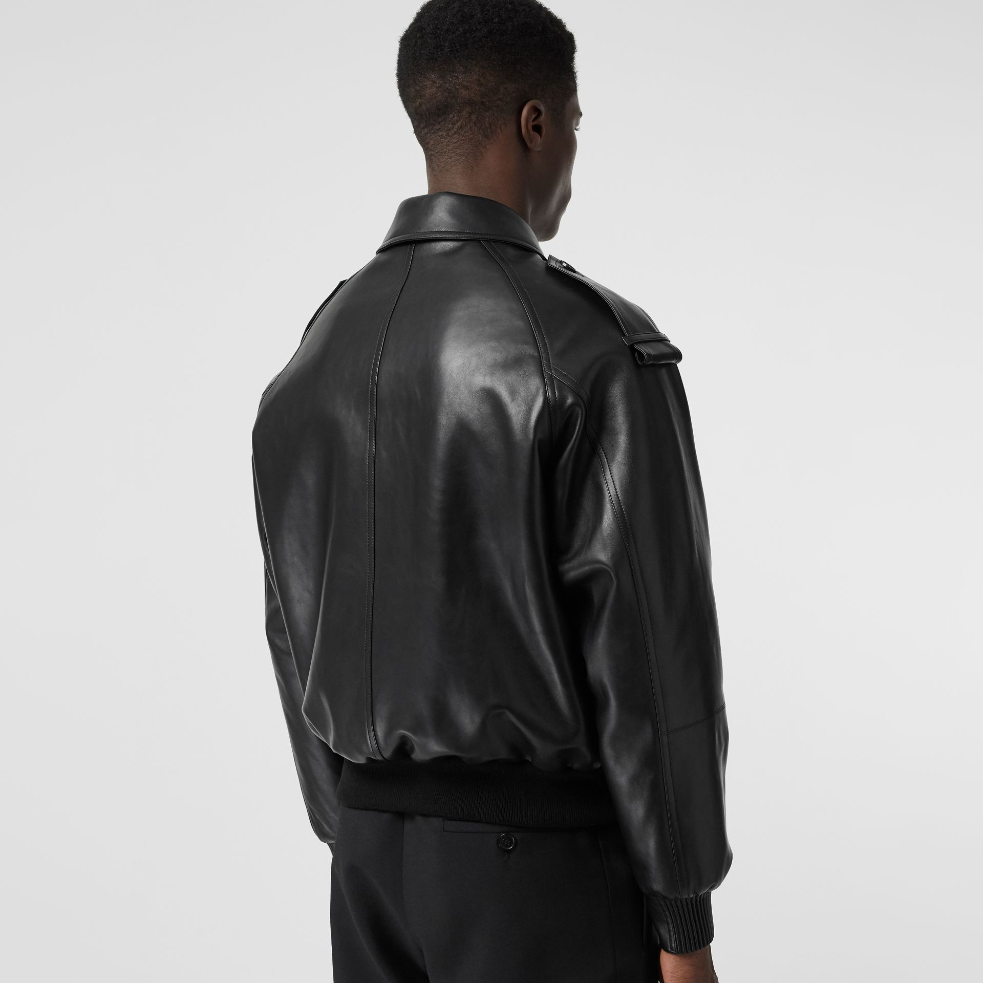 Lambskin Bomber Jacket in Black - Men | Burberry Canada - gallery image 2