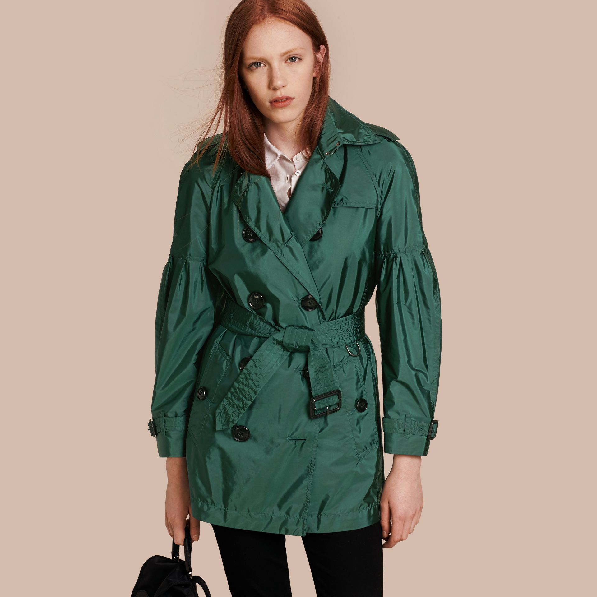 Packaway Trench Coat with Bell Sleeves in Deep Bottle Green - gallery image 1