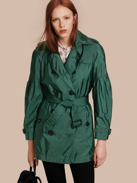 Packaway Trench Coat with Bell Sleeves Deep Bottle Green