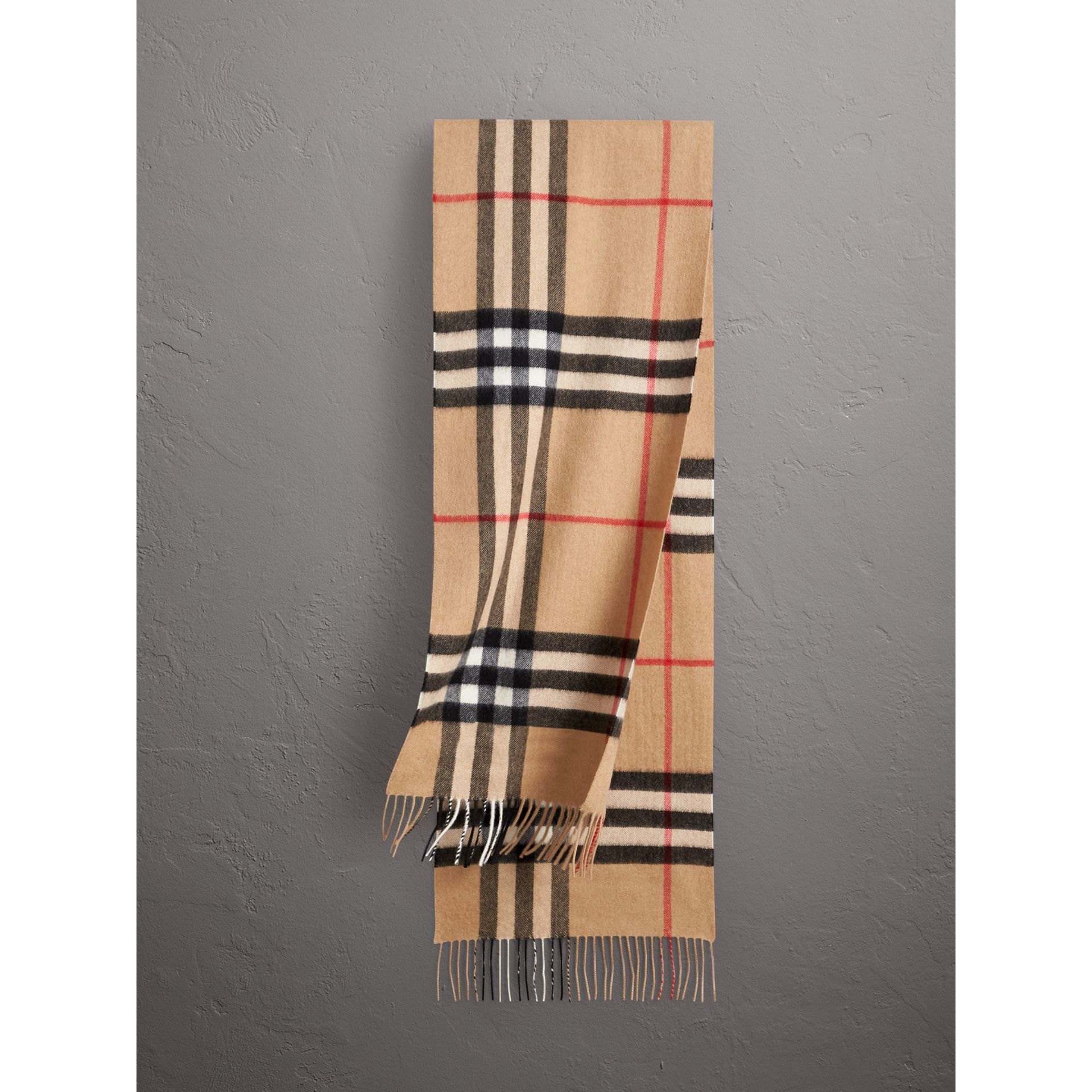 The Classic Check Cashmere Scarf in Camel | Burberry Australia - gallery image 0