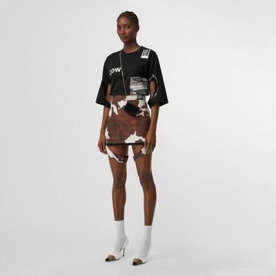 strap-detail-animal-print-cotton-linen-mini-skirt by burberry