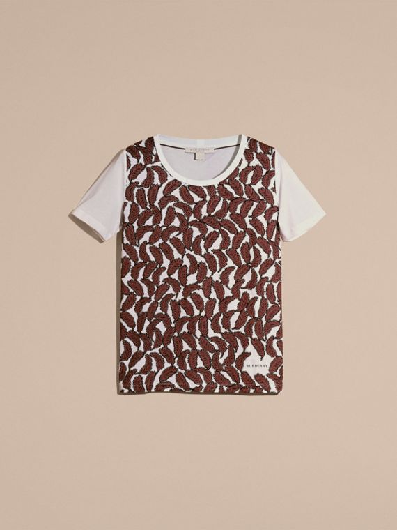 Dusty pink Leaf Print Cotton T-shirt Dusty Pink - cell image 3
