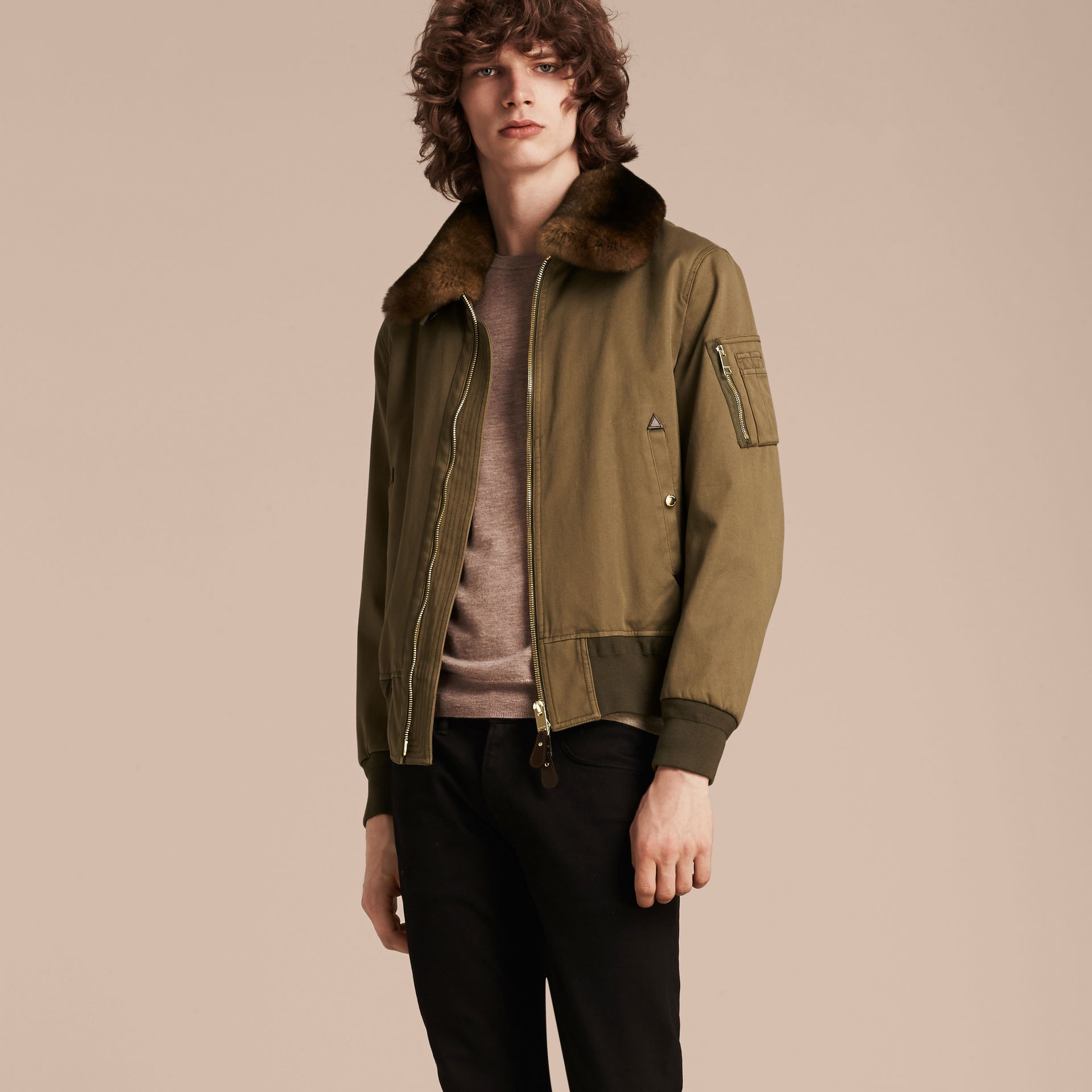 Olive green Cotton Bomber Jacket with Detachable Fur-lined Warmer - gallery image 4