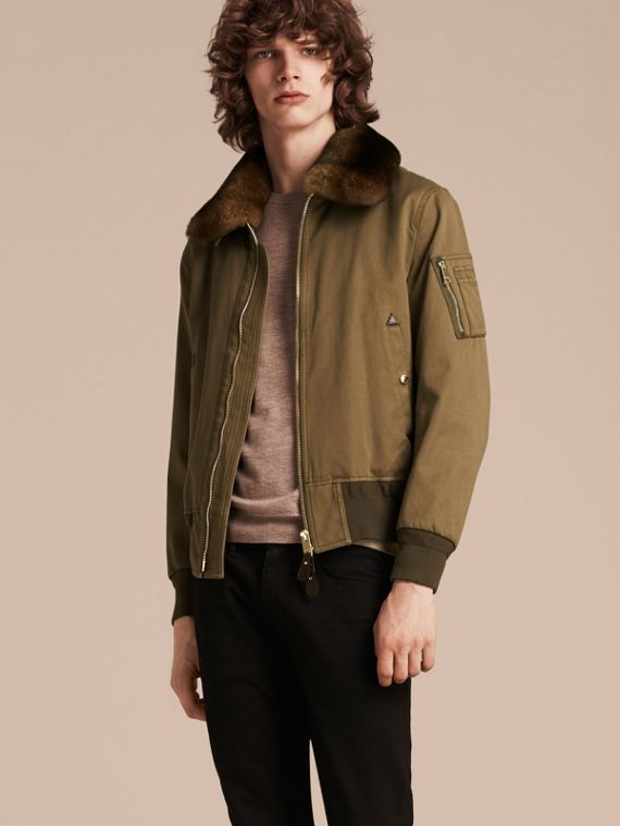 Olive green Cotton Bomber Jacket with Detachable Fur-lined Warmer - cell image 3