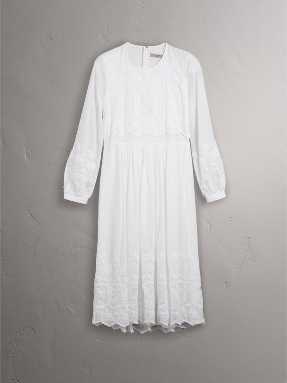 Embroidered Cotton Silk Voile Dress in White - Women | Burberry Hong Kong - cell image 3