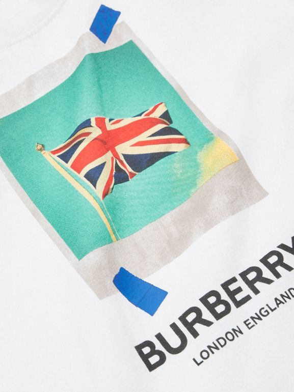 Polaroid Print Cotton T-shirt in White - Children | Burberry - cell image 1
