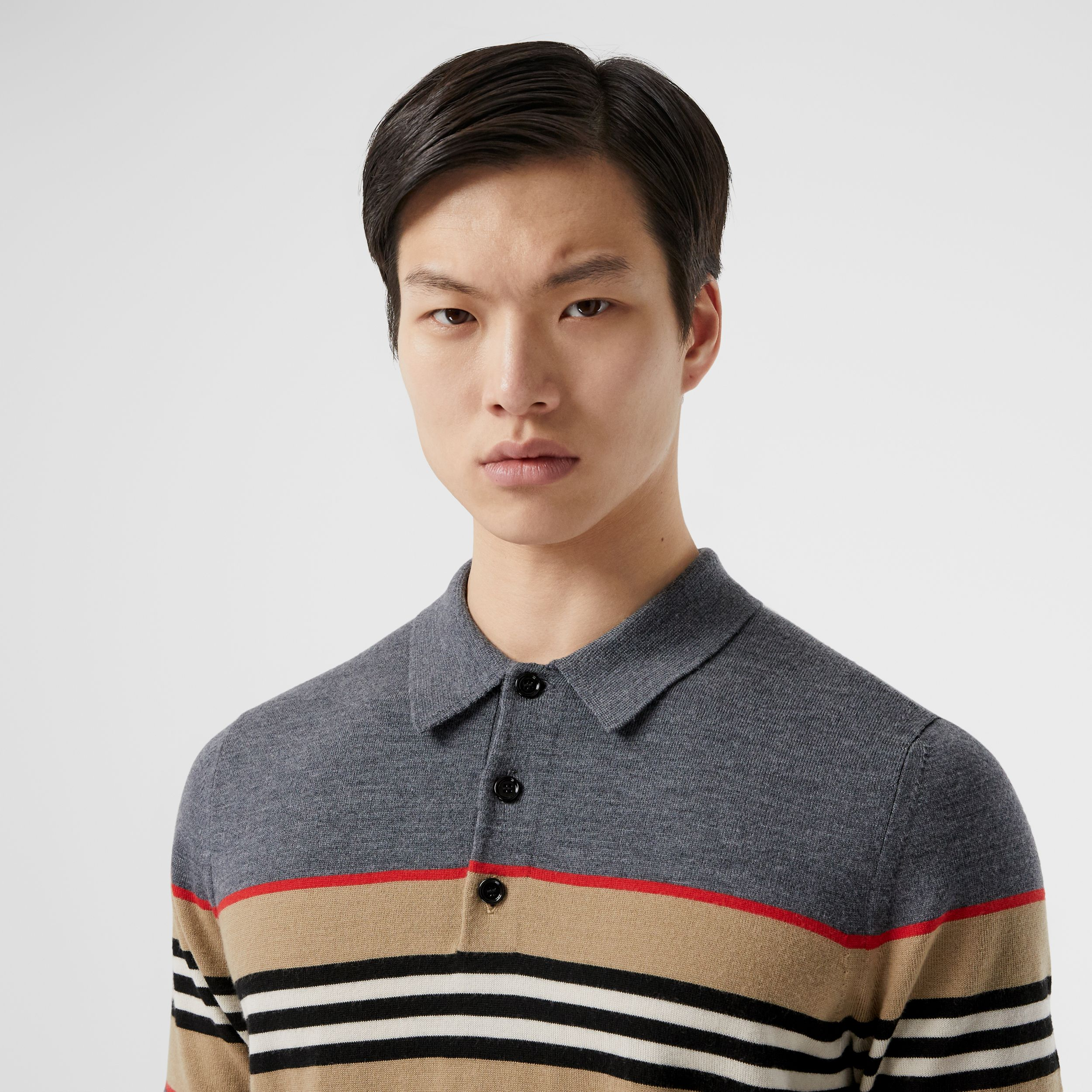 Icon Stripe Detail Merino Wool Polo Shirt in Dark Grey Melange - Men | Burberry - 2