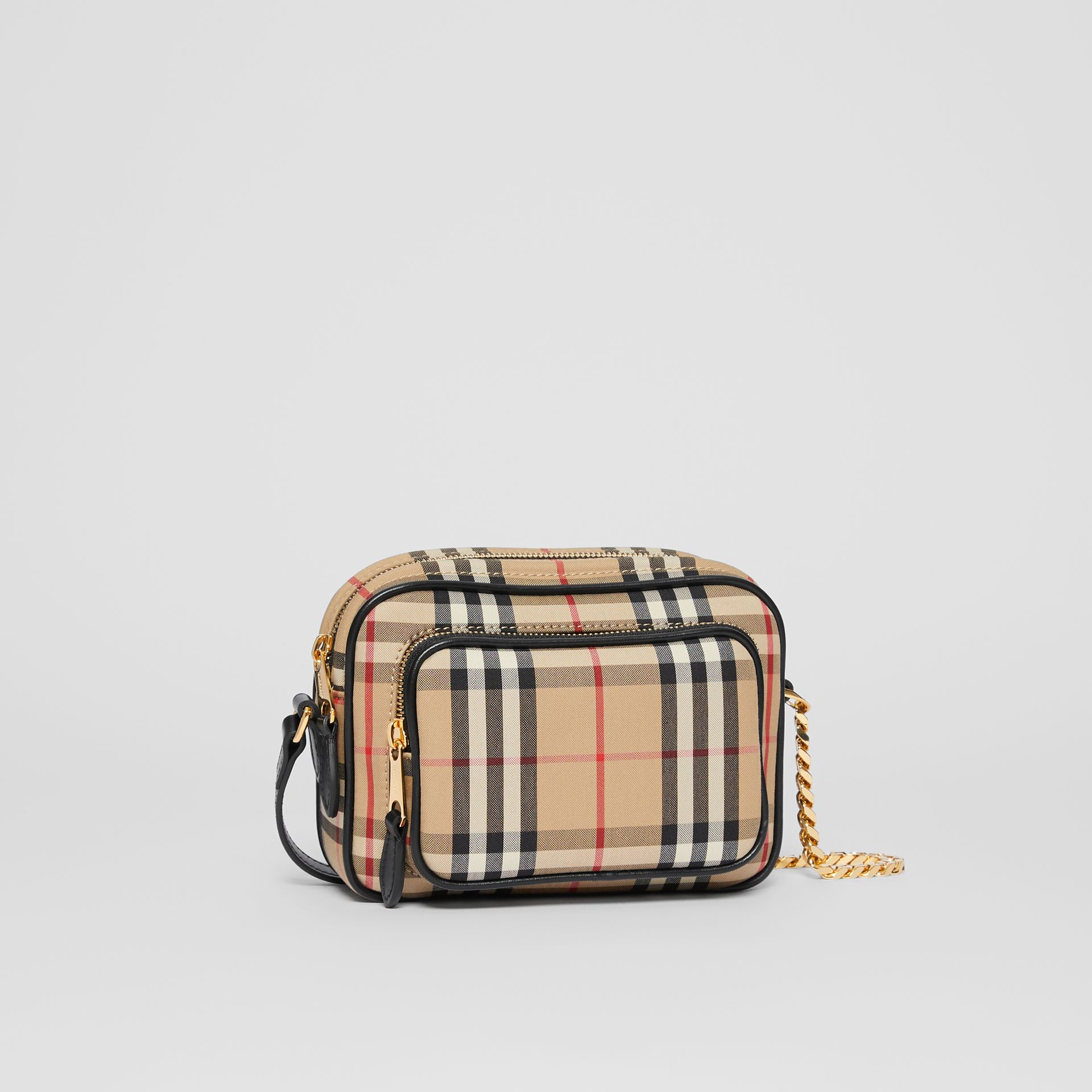 Vintage Check and Leather Camera Bag in Archive Beige | Burberry United States - gallery image 8