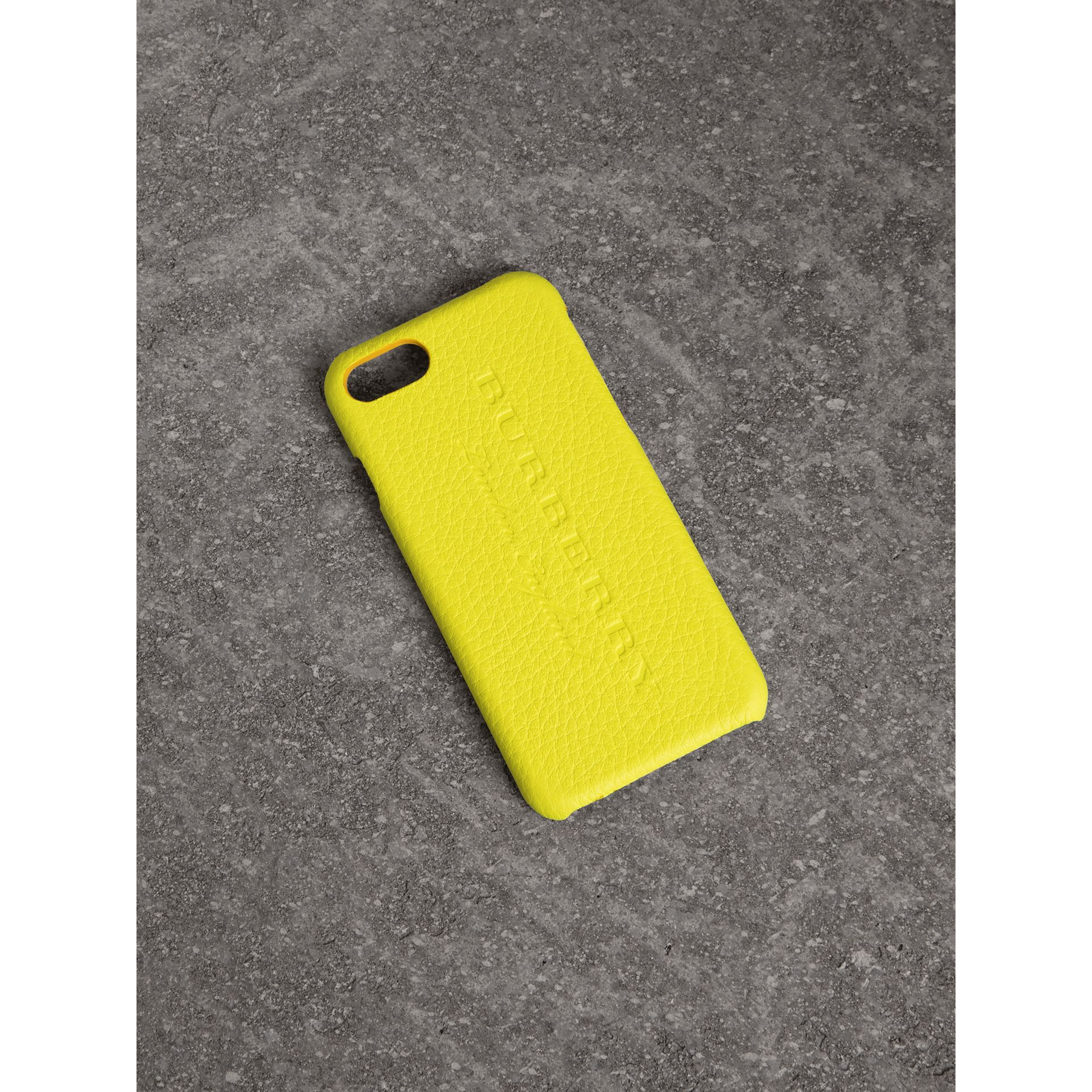 Neon Leather iPhone 7 Case in Bright Yellow | Burberry United Kingdom - gallery image 0