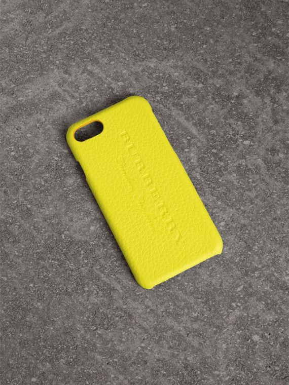 Funda para iPhone 7 en piel flúor (Amarillo Intenso)