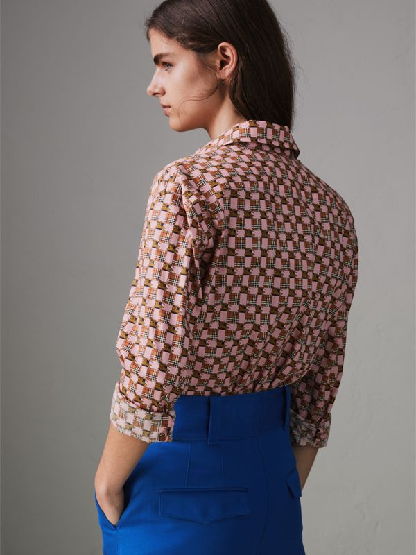 Tiled Archive Print Cotton Shirt in Pink - Women | Burberry - cell image 2
