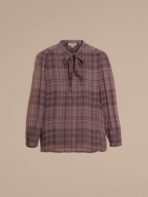 Mauve Check Silk Crepon Tie Neck Top - cell image 3