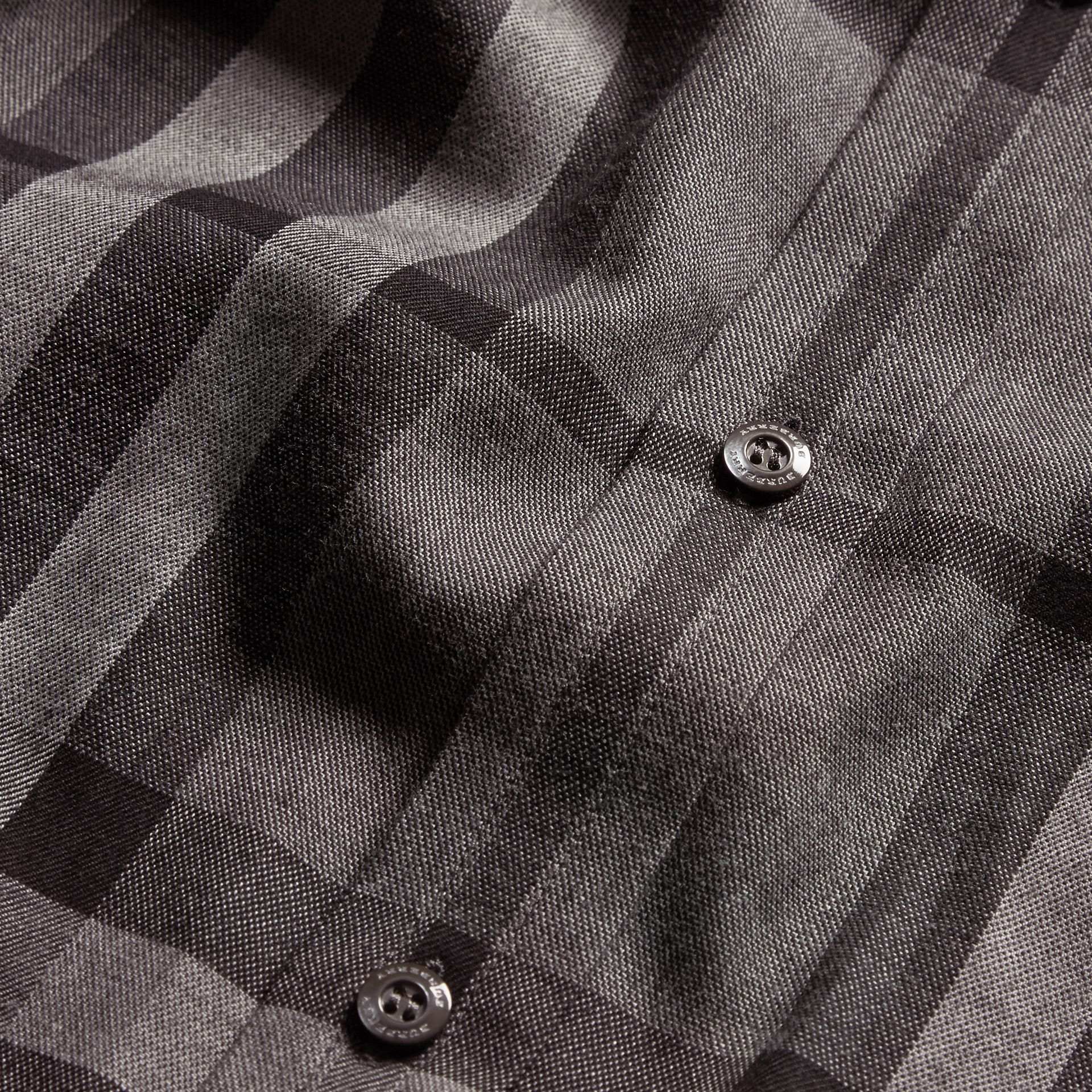 Mid grey melange Check Cotton Cashmere Flannel Shirt Mid Grey Melange - gallery image 2