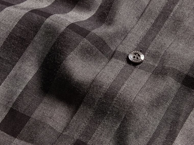 Check Cotton Cashmere Flannel Shirt in Mid Grey Melange - cell image 1