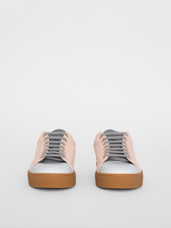 Tri-tone Perforated Check Leather Sneakers in Pale Pink - Women | Burberry - cell image 3