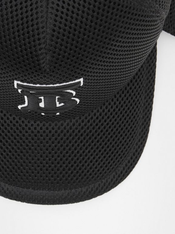 Monogram Motif Reconstructed Baseball Cap in Black | Burberry - cell image 1