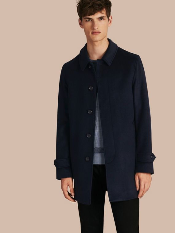 Virgin Wool Cashmere Car Coat Navy