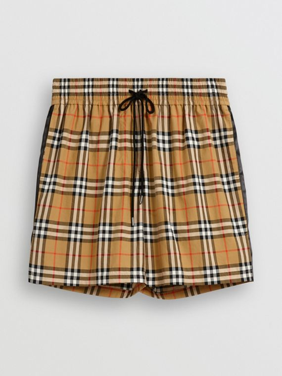 Vintage Check Drawstring Shorts in Antique Yellow