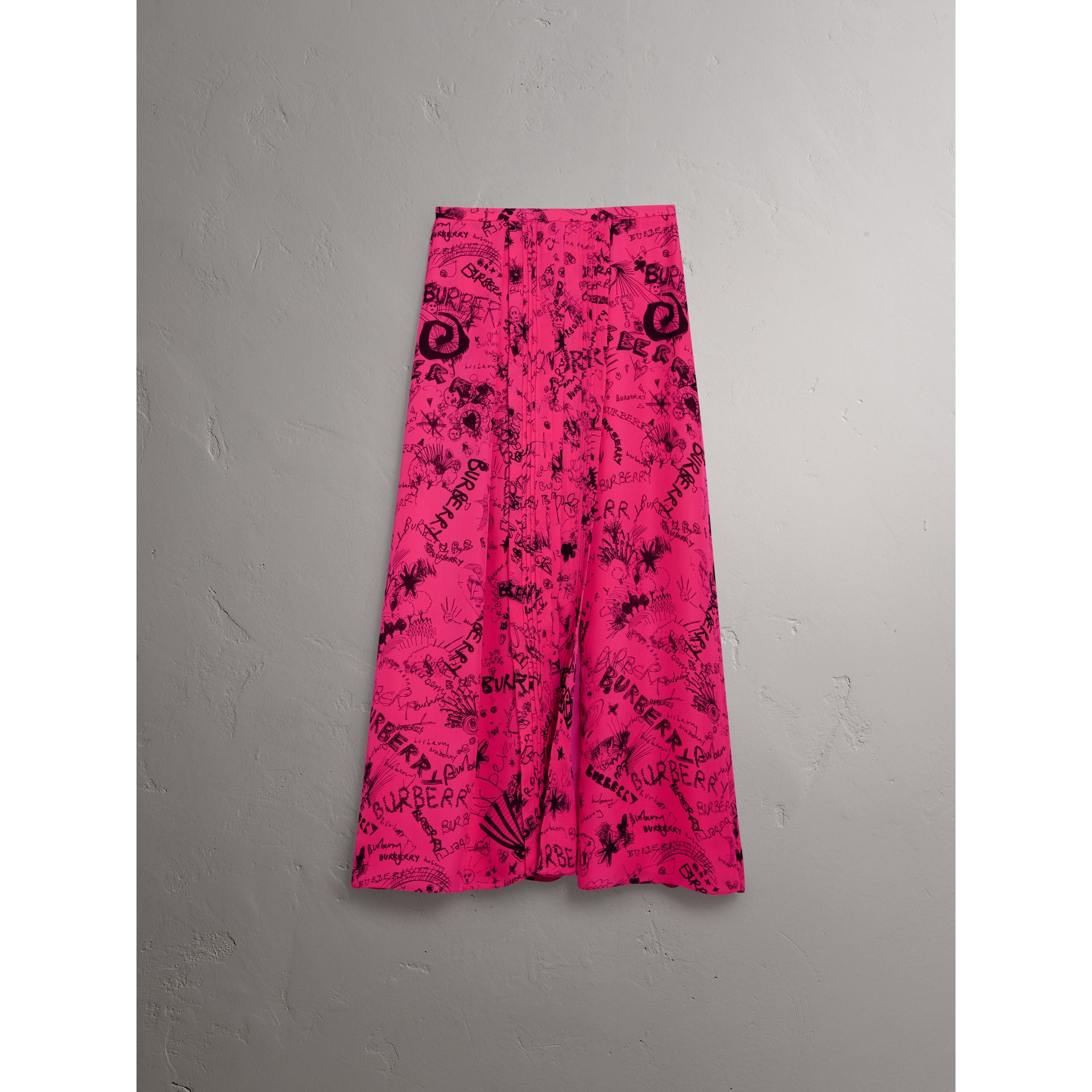 Doodle Print Pintuck Detail Silk Skirt in Fluro Pink - Women | Burberry - gallery image 3