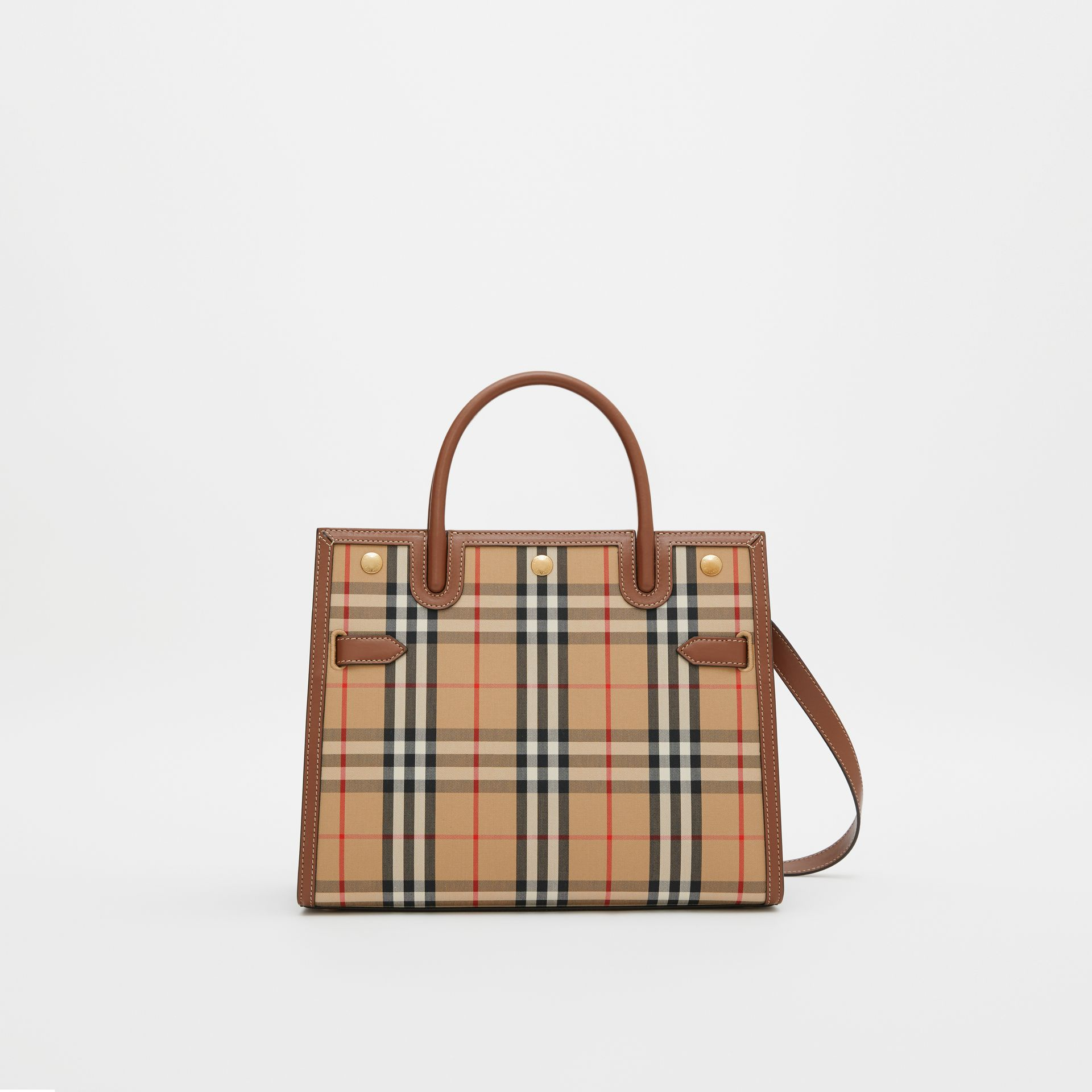 Mini Vintage Check Two-handle Title Bag in Archive Beige - Women | Burberry - gallery image 0