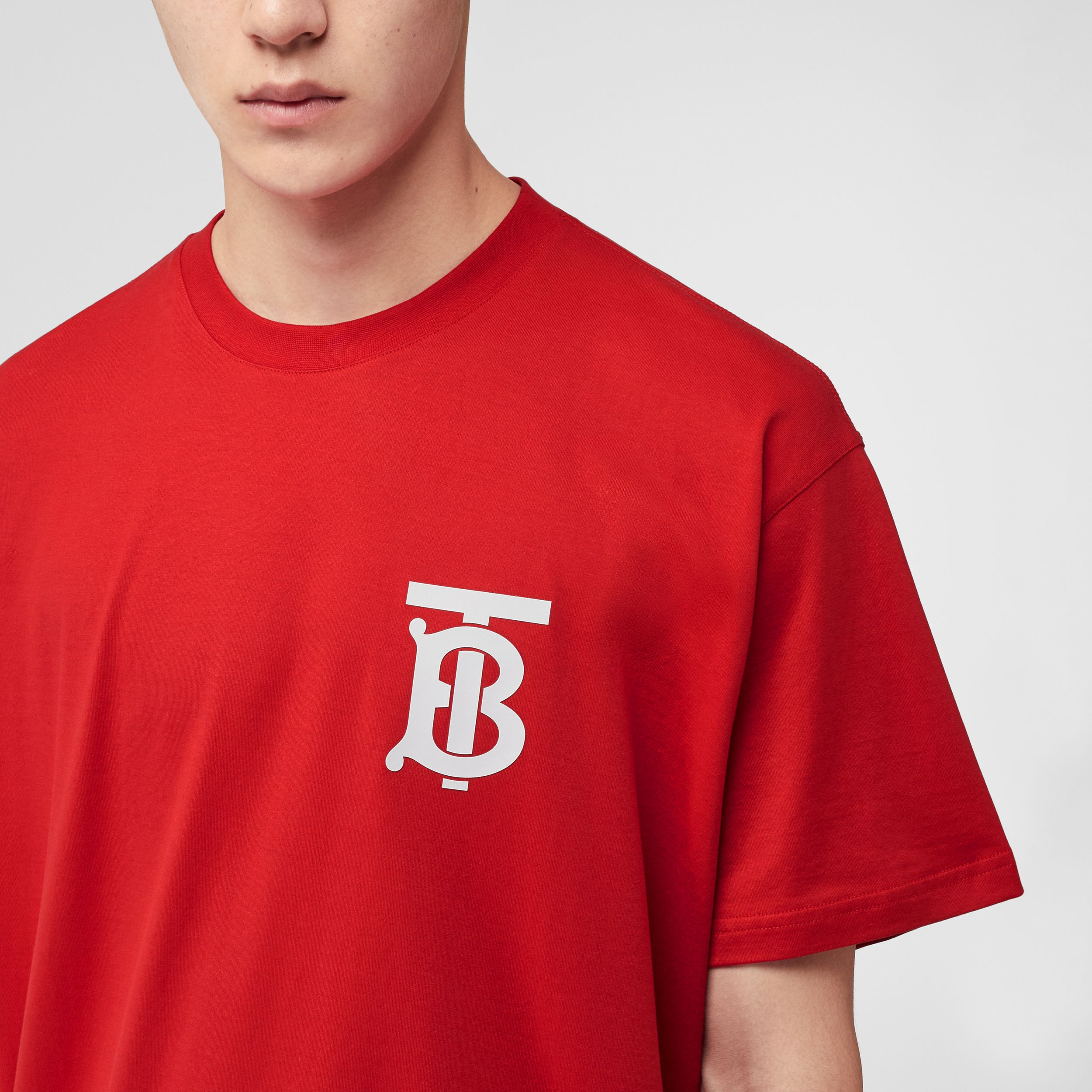 Monogram Motif Cotton Oversized T-shirt in Bright Red - Men | Burberry United Kingdom - 2