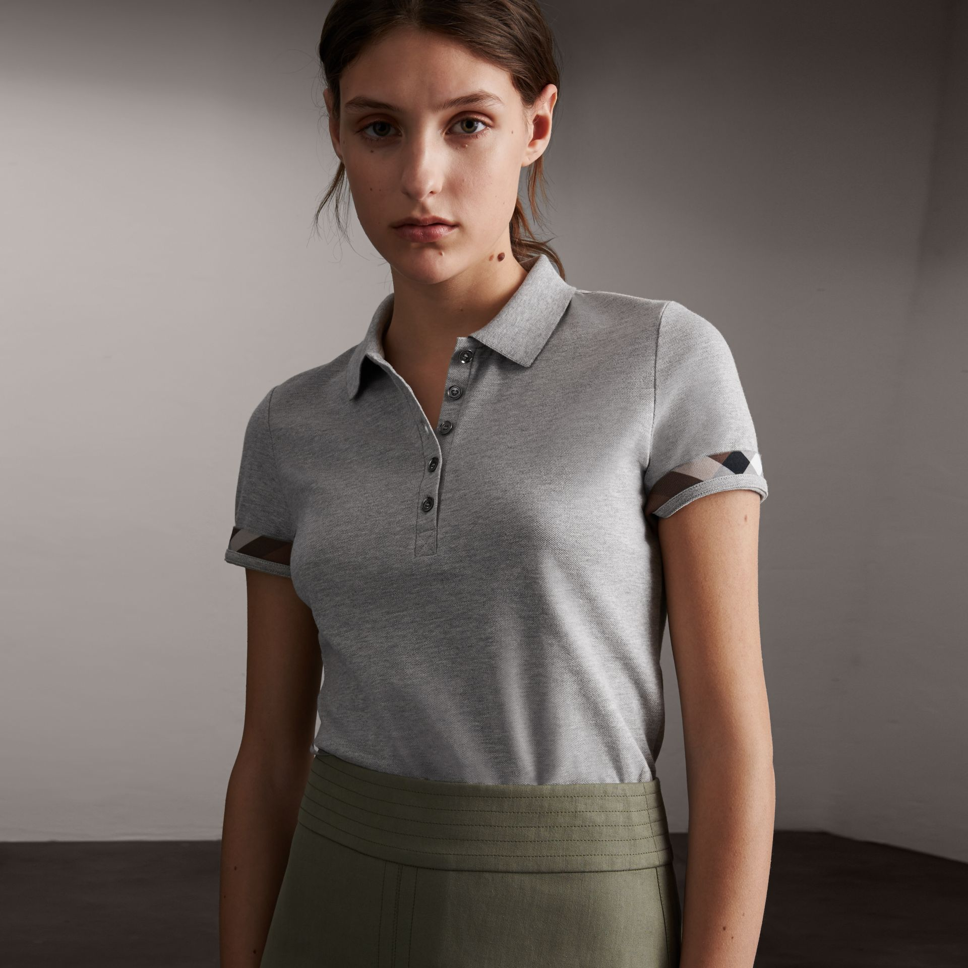 Check Trim Stretch Cotton Piqué Polo Shirt in Pale Grey Melange - Women | Burberry - gallery image 0