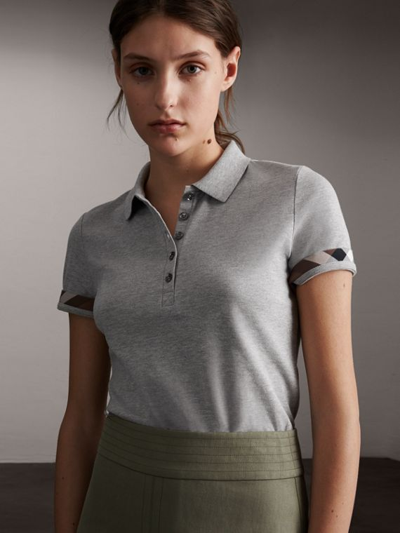 Check Trim Stretch Cotton Piqué Polo Shirt in Pale Grey Melange