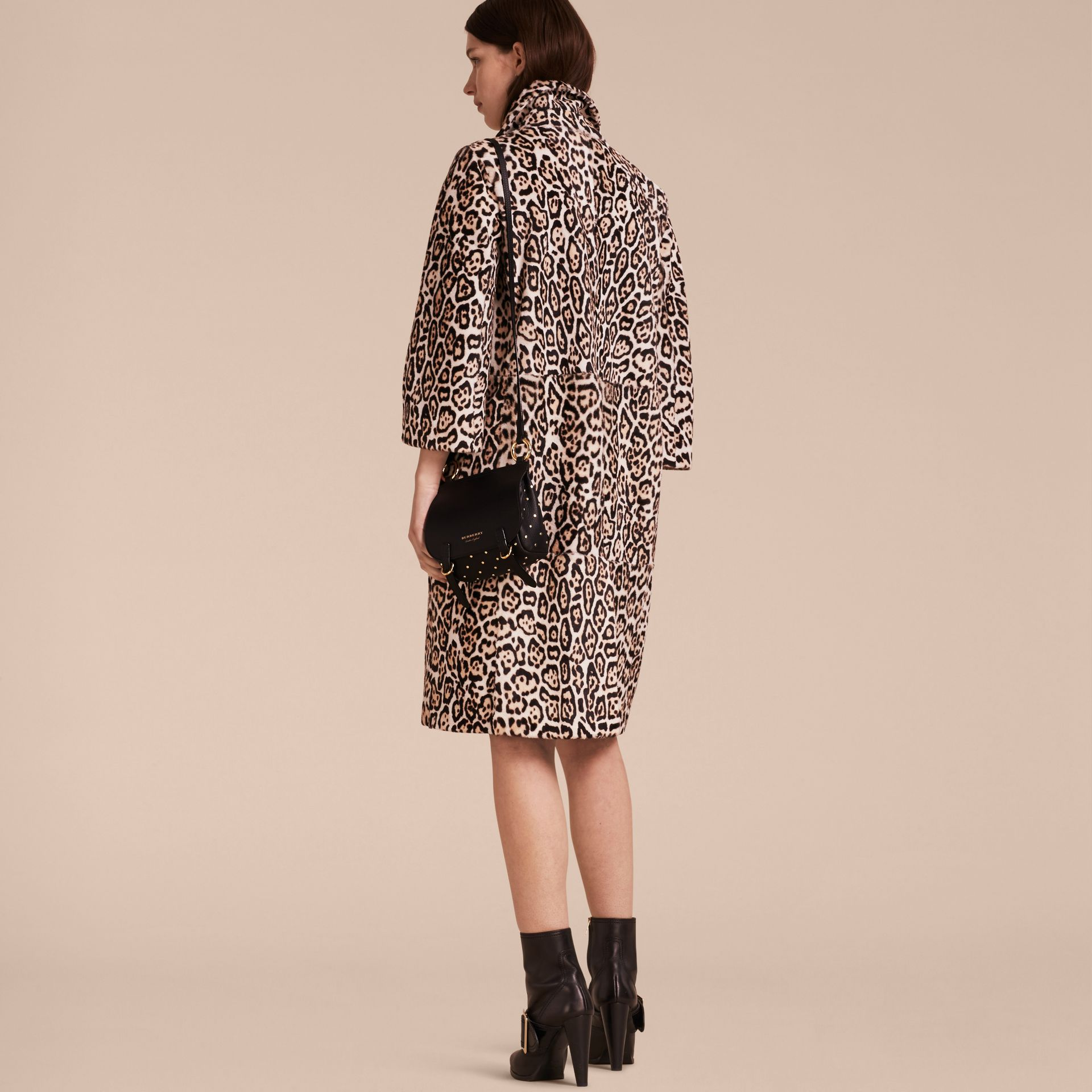 Camel Leopard Print Shearling Coat - gallery image 3