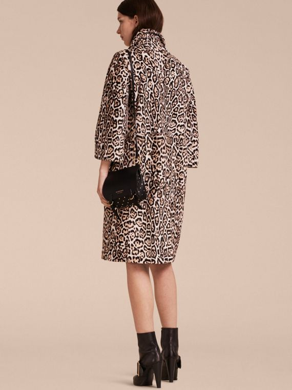 Camel Leopard Print Shearling Coat - cell image 2