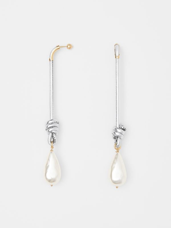 Faux Pearl Detail Leather Drop Earrings in Light Gold/silver - Women | Burberry - cell image 3