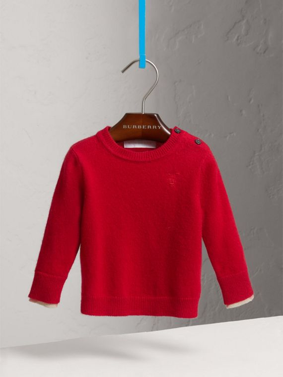 Check Detail Cashmere Sweater in Parade Red