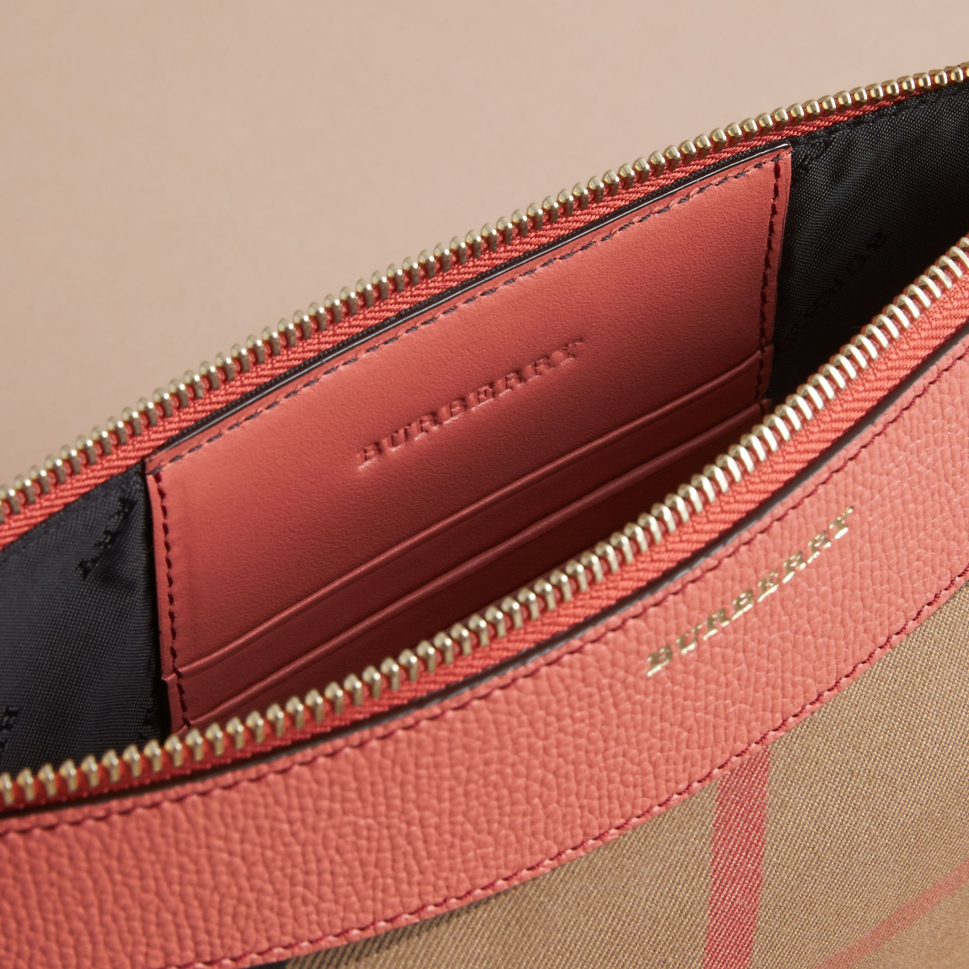 House Check and Leather Clutch Bag in Cinnamon Red - Women | Burberry - gallery image 6