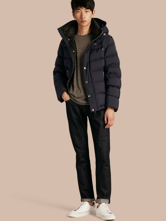 Down-filled Hooded Jacket with Detachable Sleeves Navy