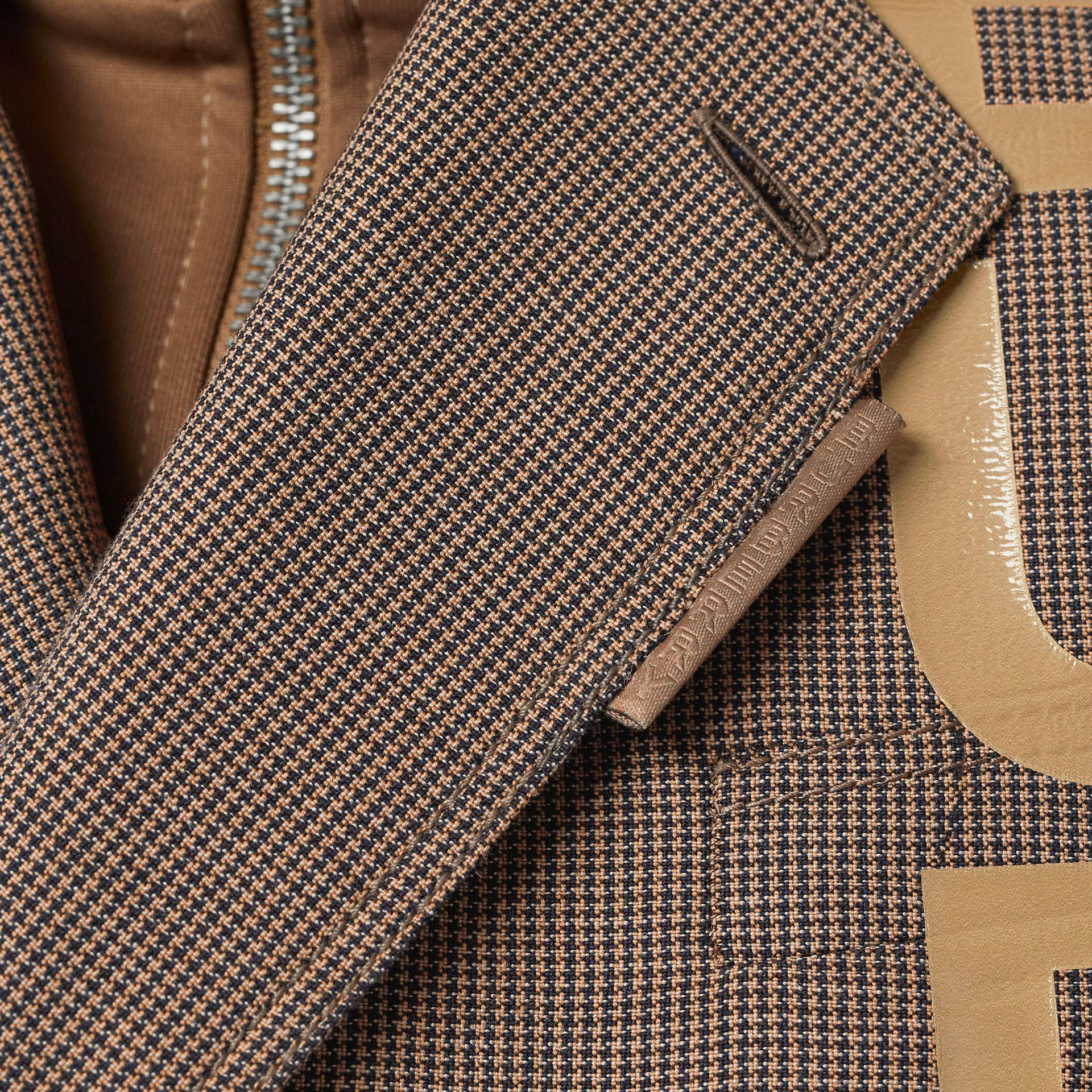 Slim Fit Logo Print Cotton Wool Blend Tailored Jacket in Beige - Men | Burberry - gallery image 4