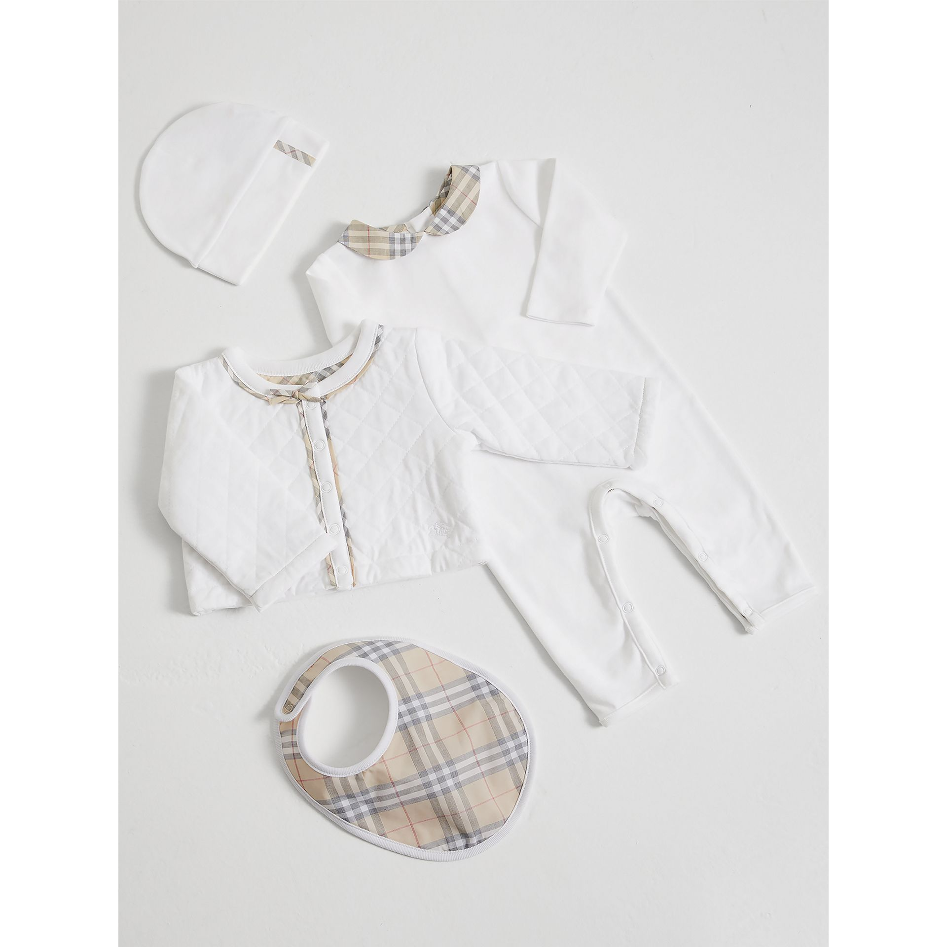 Check Detail Four-piece Baby Gift Set in White - Children | Burberry - gallery image 0