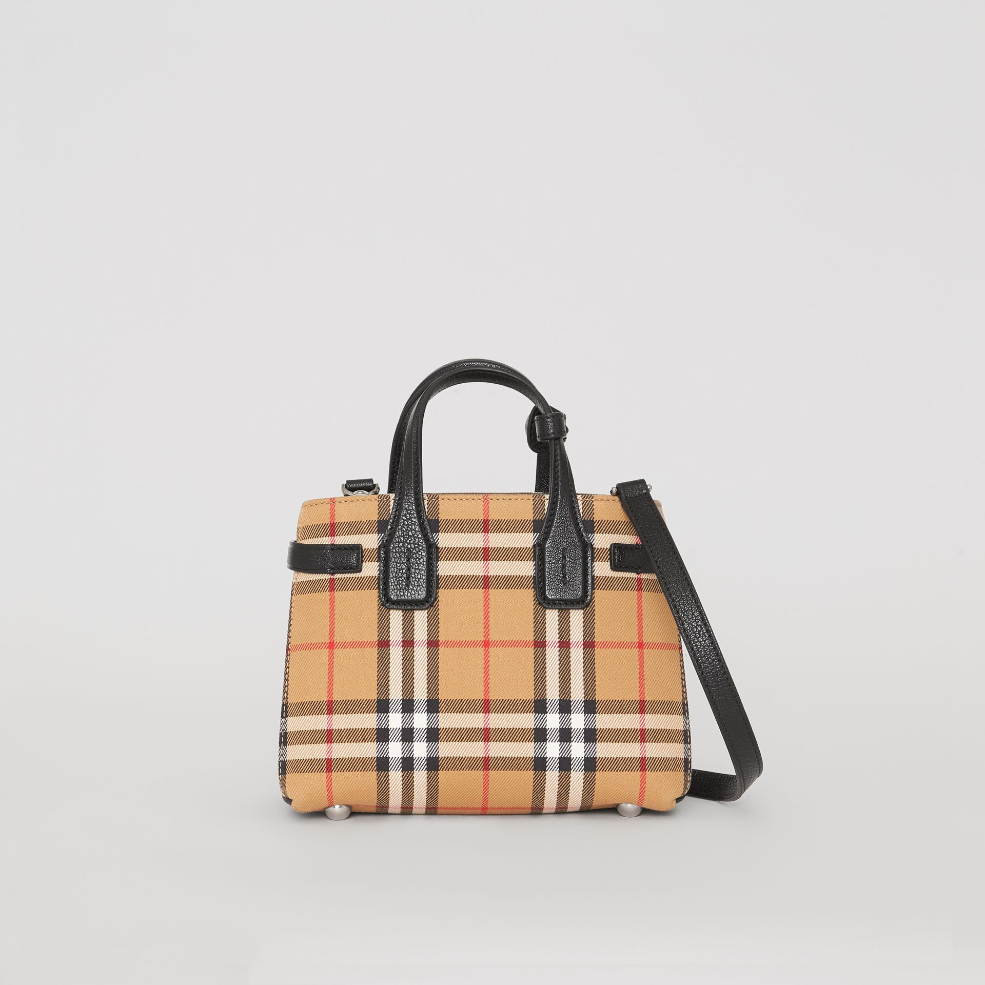 The Baby Banner in Vintage Check and Leather in Black - Women | Burberry - gallery image 0