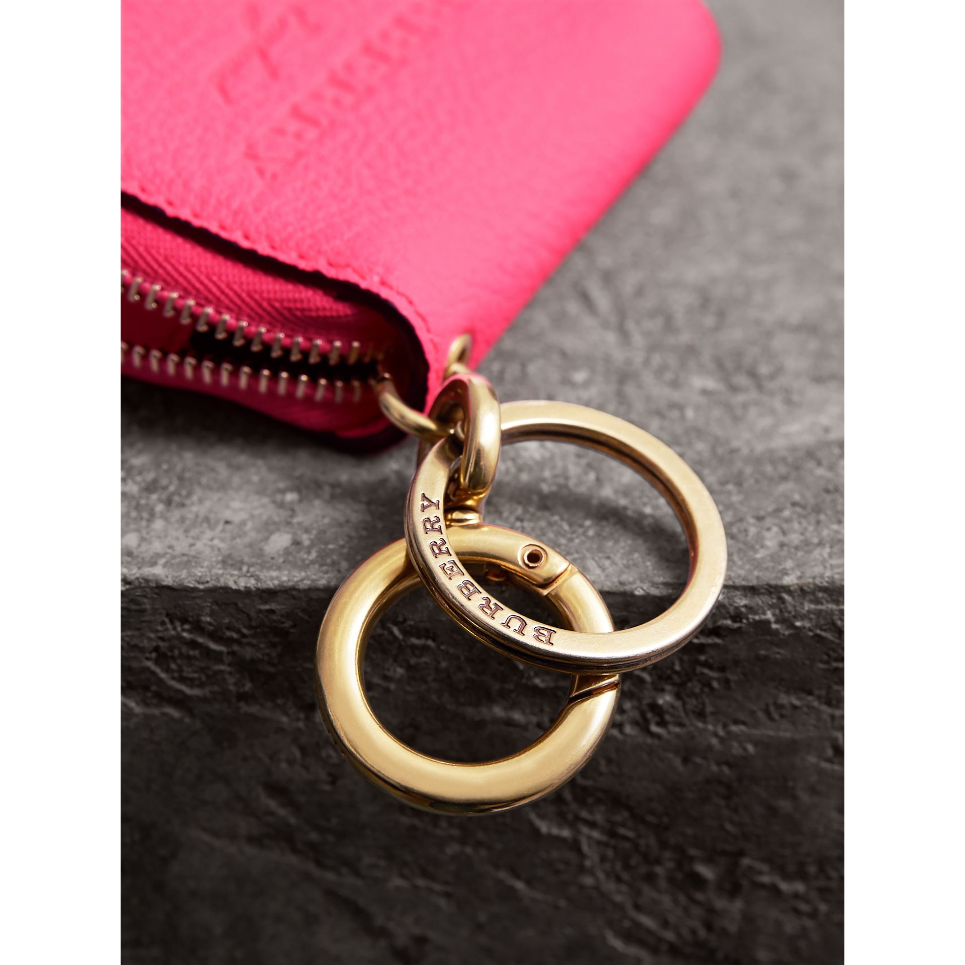 Embossed Leather Notebook Charm in Bright Pink | Burberry - gallery image 1
