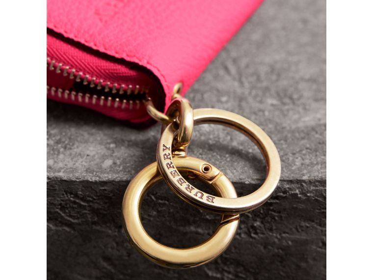 Embossed Leather Notebook Charm in Bright Pink | Burberry - cell image 1