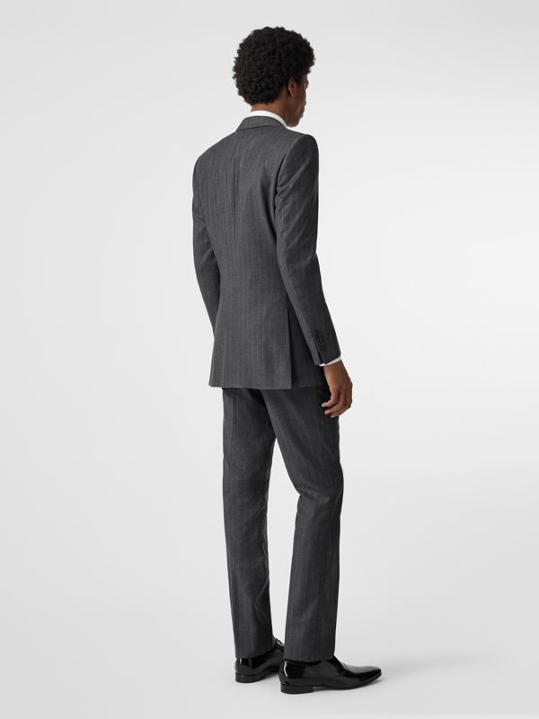 Slim Fit Pinstriped Wool Cashmere Suit in Mid Grey - Men | Burberry Australia - cell image 2