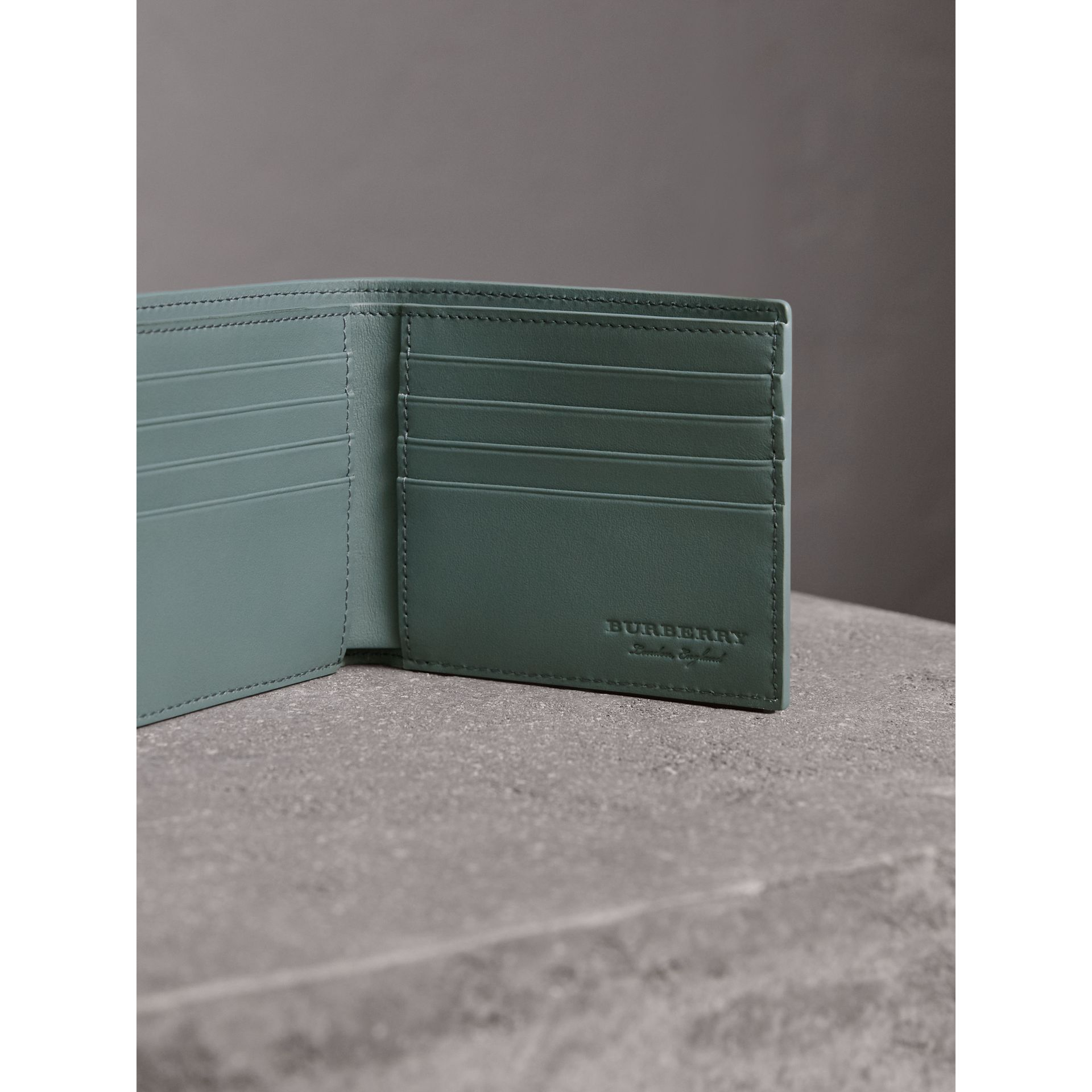 Embossed Leather Bifold Wallet in Dusty Teal Blue - Men | Burberry - gallery image 4