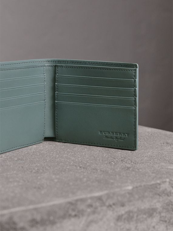 Embossed Leather Bifold Wallet in Dusty Teal Blue - Men | Burberry - cell image 3