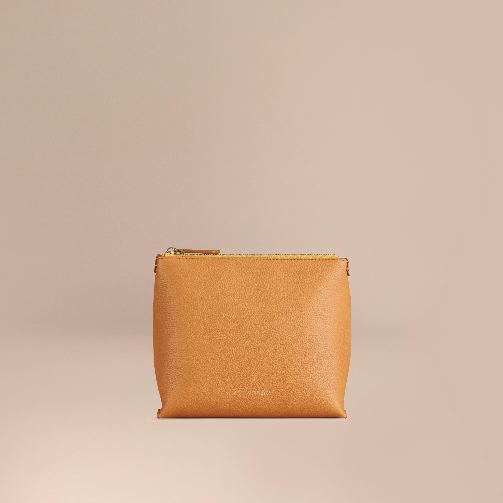 Ochre yellow Grainy Leather Zipped  Pouch Ochre Yellow - gallery image 1