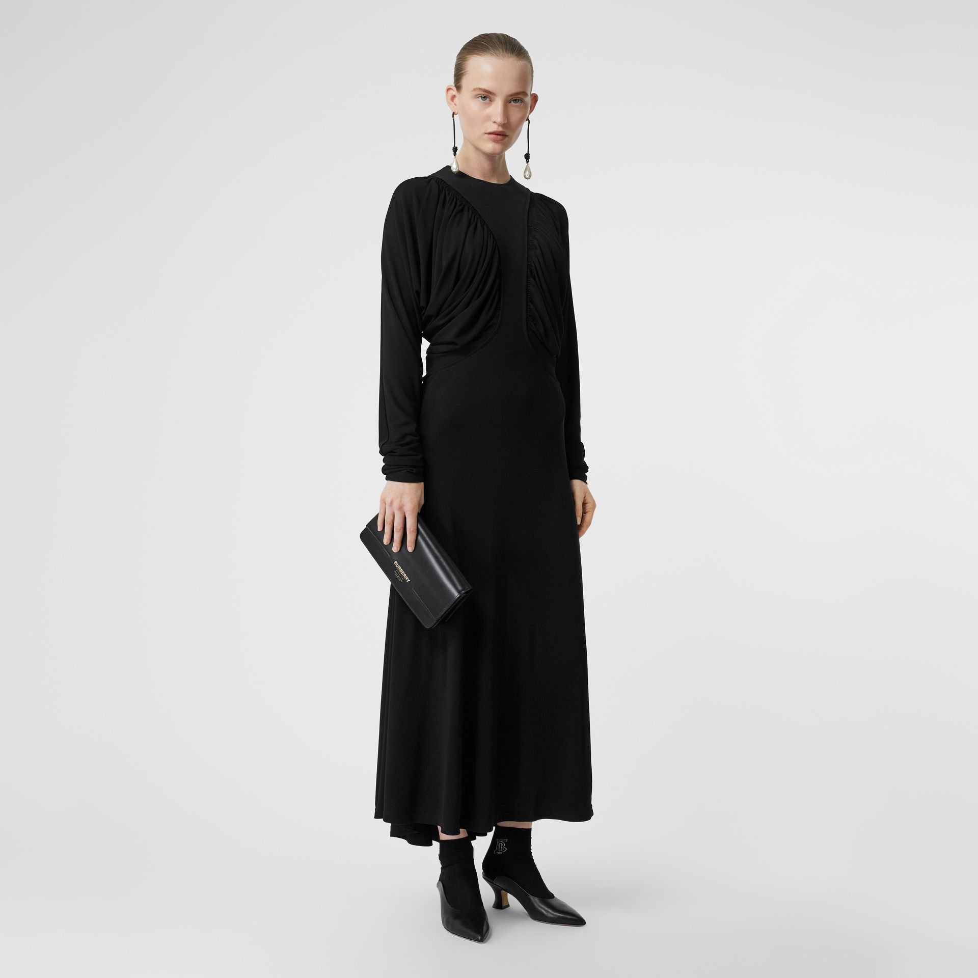 Ruched Panel Jersey Gown in Black - Women | Burberry - gallery image 0