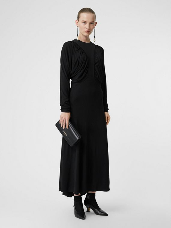 Ruched Panel Jersey Gown in Black
