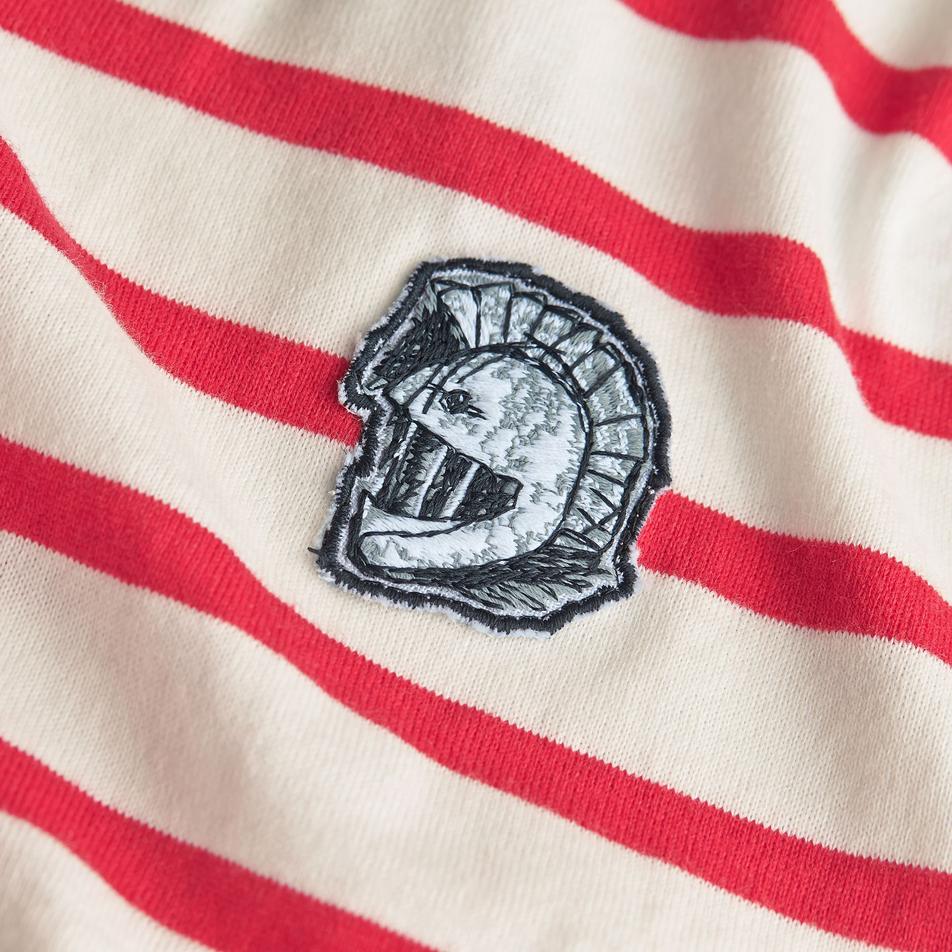 Unisex Pallas Helmet Motif Breton Stripe Cotton Top in Parade Red | Burberry - gallery image 2