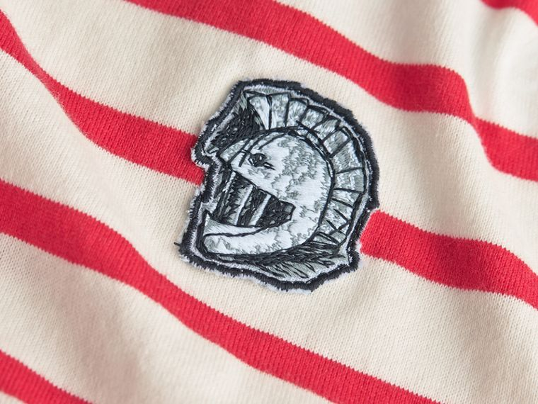 Unisex Pallas Helmet Motif Breton Stripe Cotton Top in Parade Red | Burberry - cell image 1