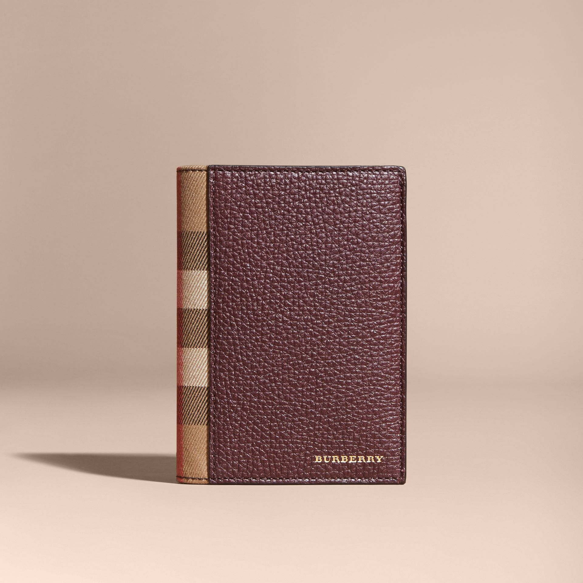 Leather and House Check Passport and Card Holder Wine - gallery image 6