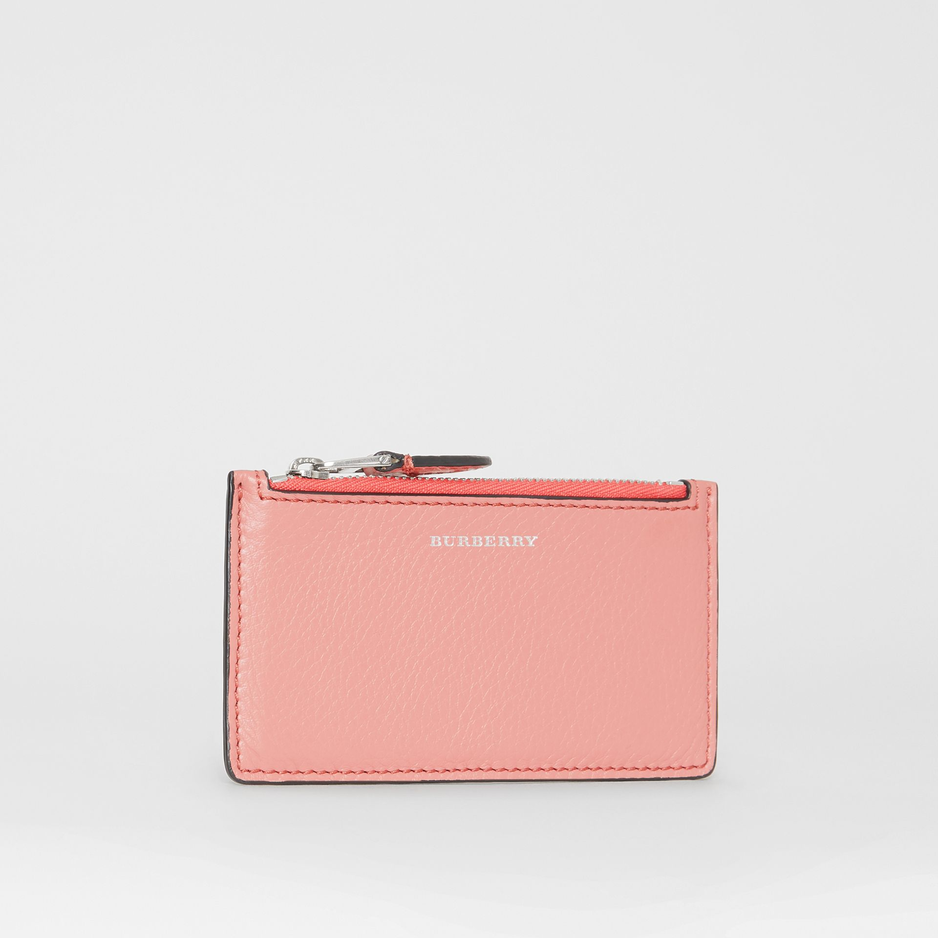 Two-tone Leather Zip Card Case in Dusty Rose - Women | Burberry Singapore - gallery image 3