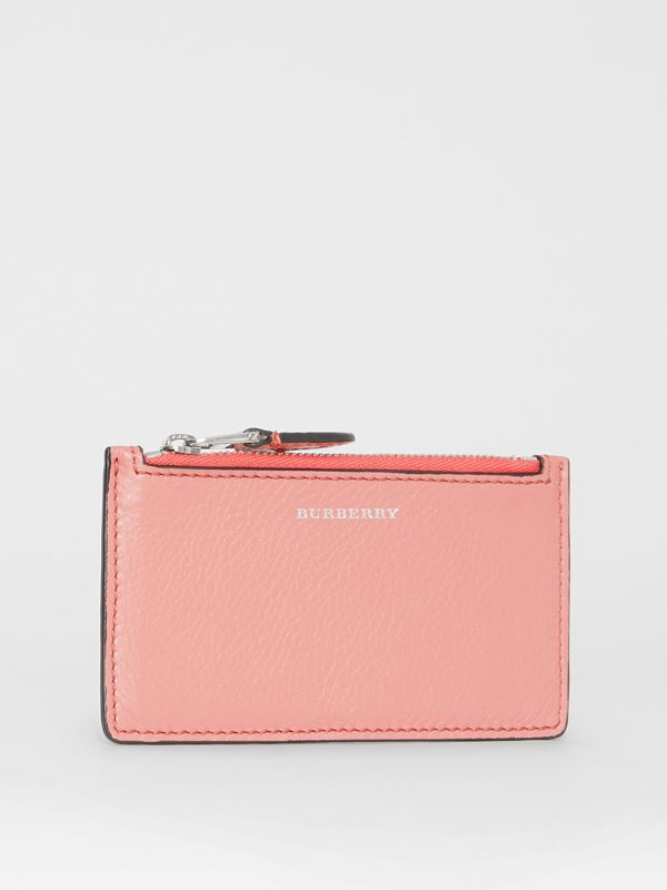 Two-tone Leather Zip Card Case in Dusty Rose - Women | Burberry United States - cell image 3